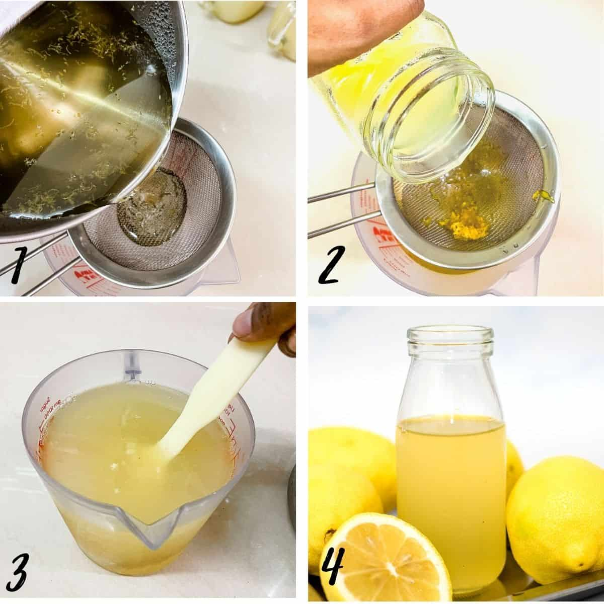 A poster of 4 images showing how to strain sugar syrup and lemon juice into a pot to make lemonade concentrate
