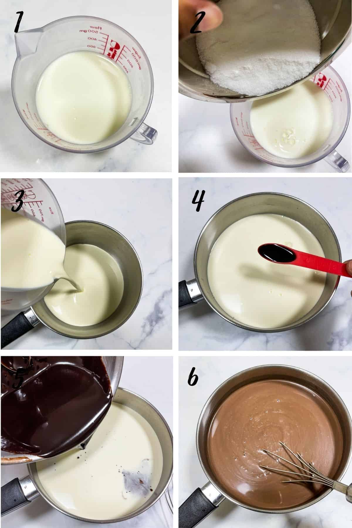 A poster of 6 images showing how to make chocolate ice cream base for ice cream maker