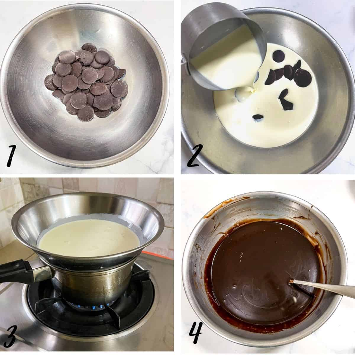 A poster of 4 images showing to how to melt chocolate and cream in a double boiler