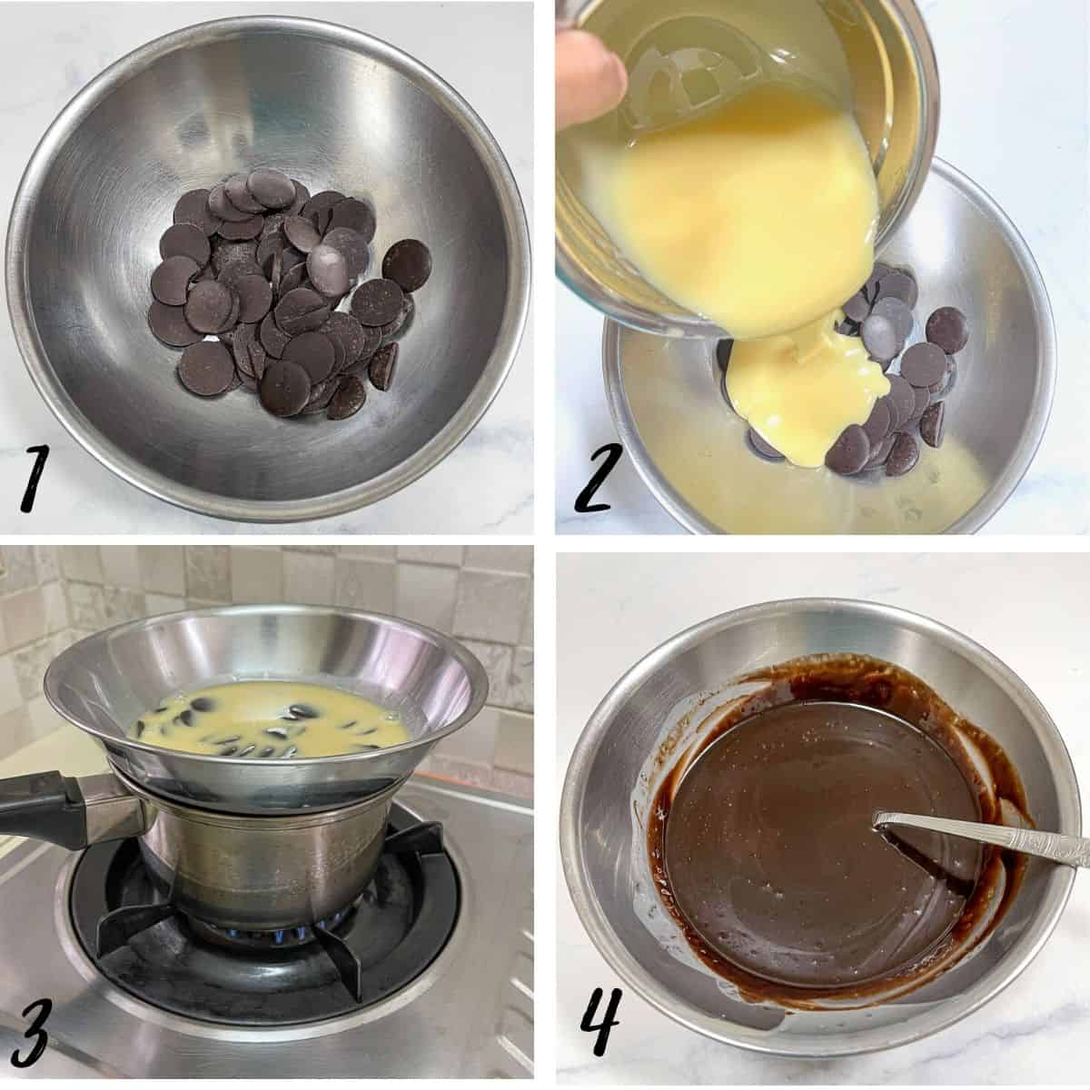 A poster of 4 images showing how to double boil chocolate and condensed milk