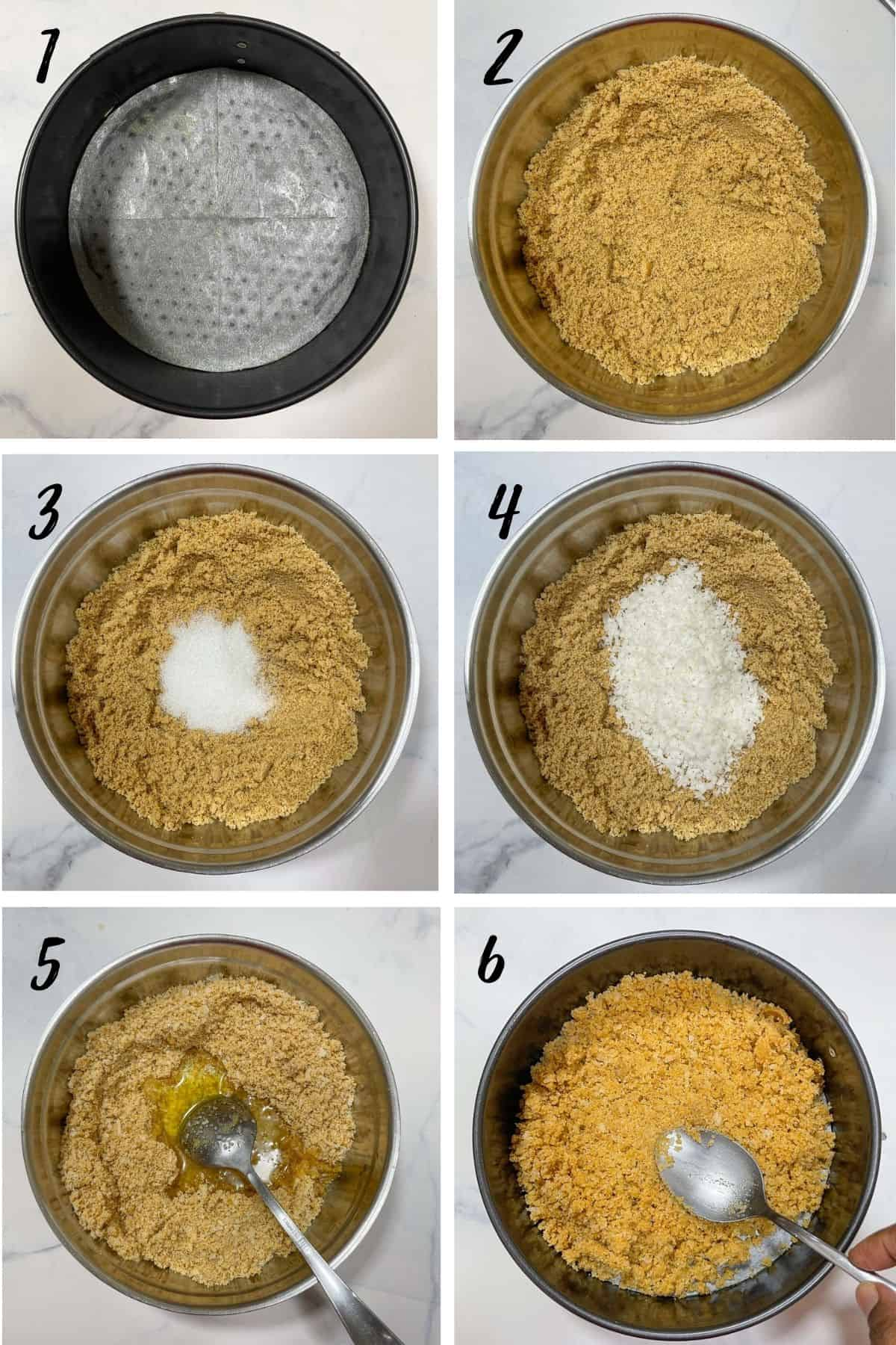 A poster of 6 images showing how to make cheesecake crust