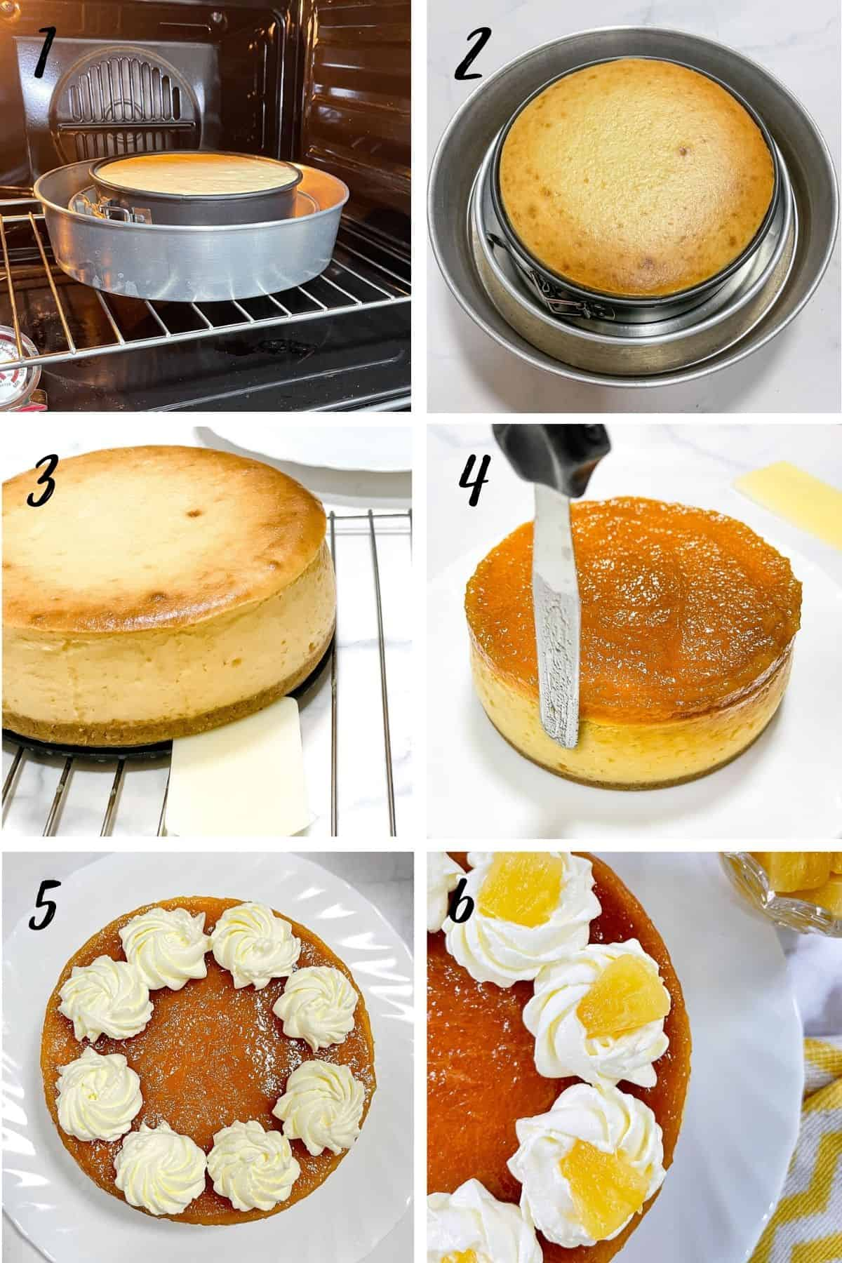 A poster of 6 images showing how to add pineapple topping to a cheesecake and how to decorate with whipped cream.