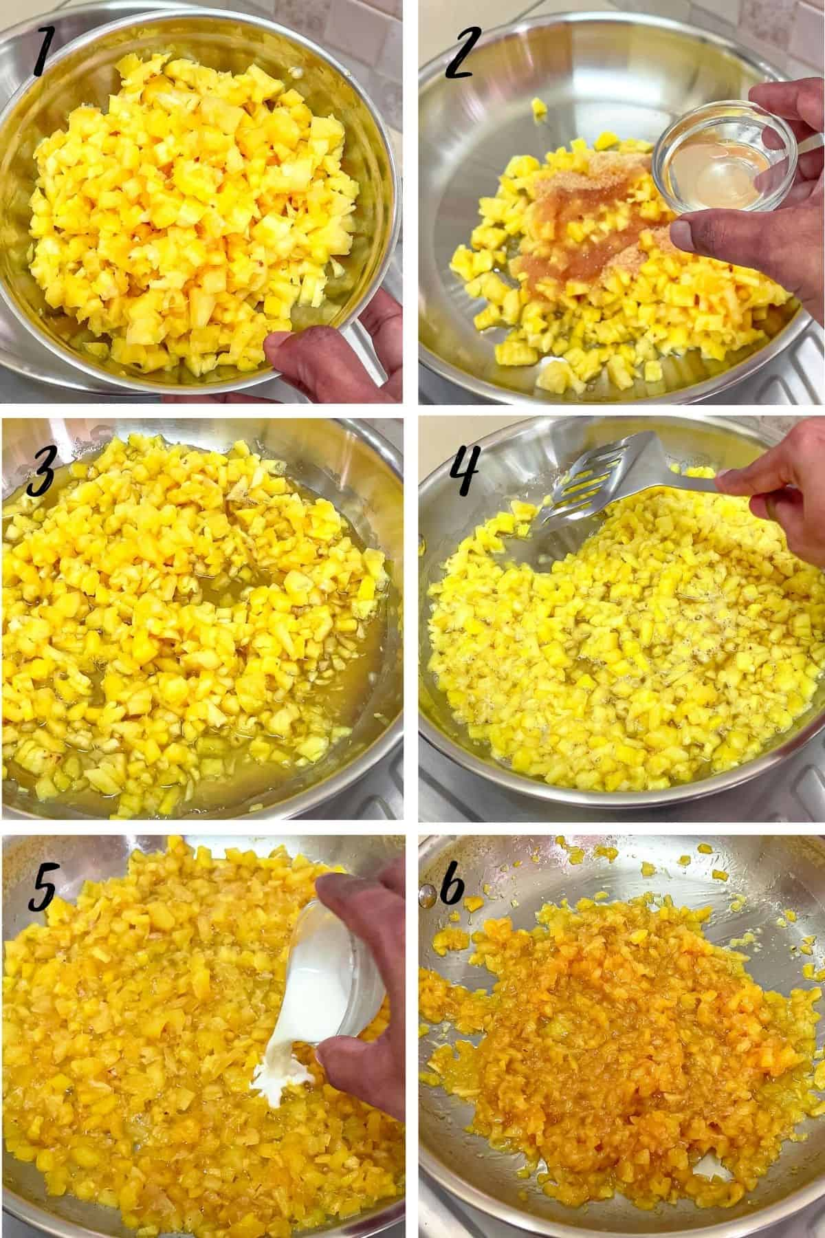 A poster of 6 images showing how to cook pineapple filling