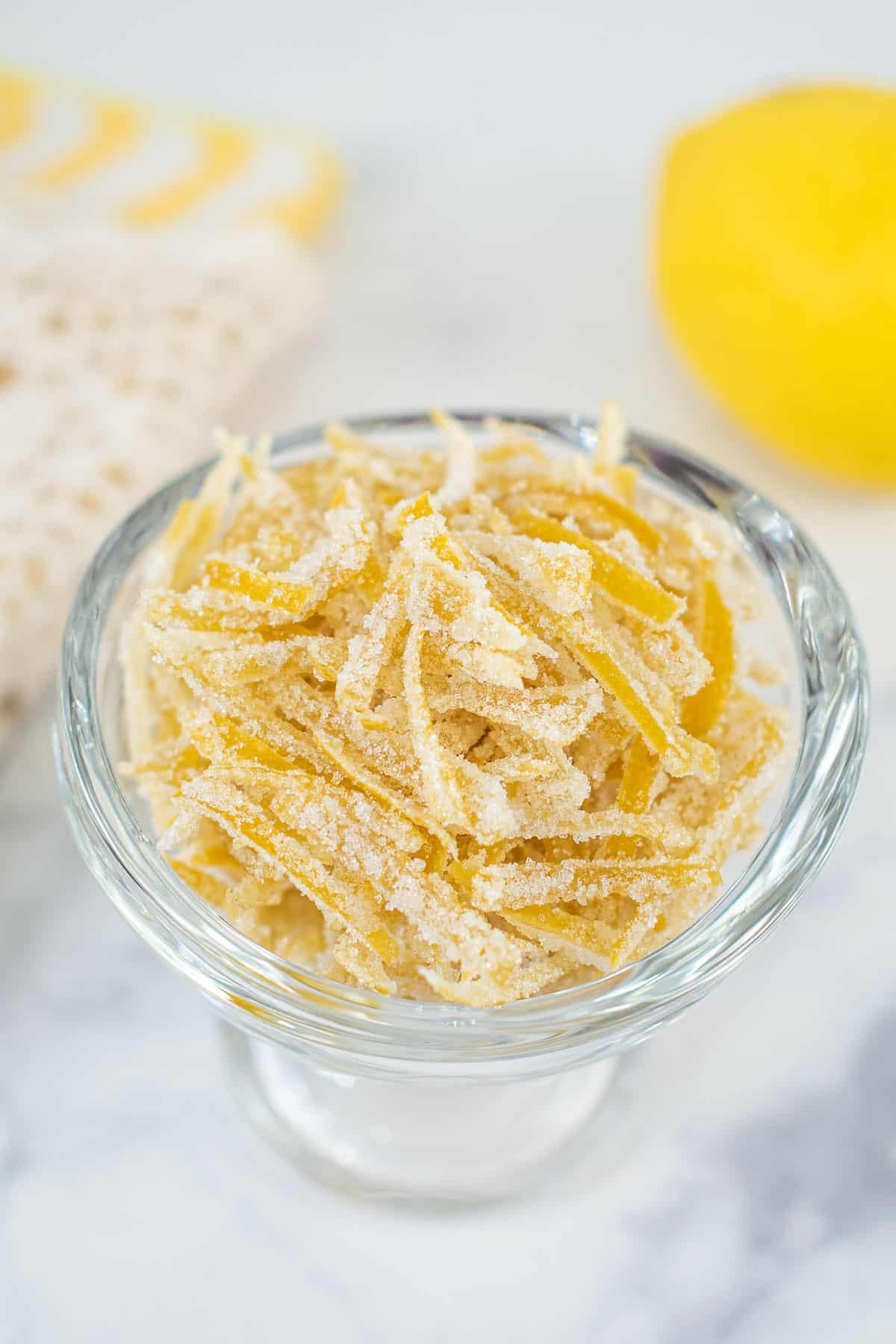 A jar of candied lemon peel
