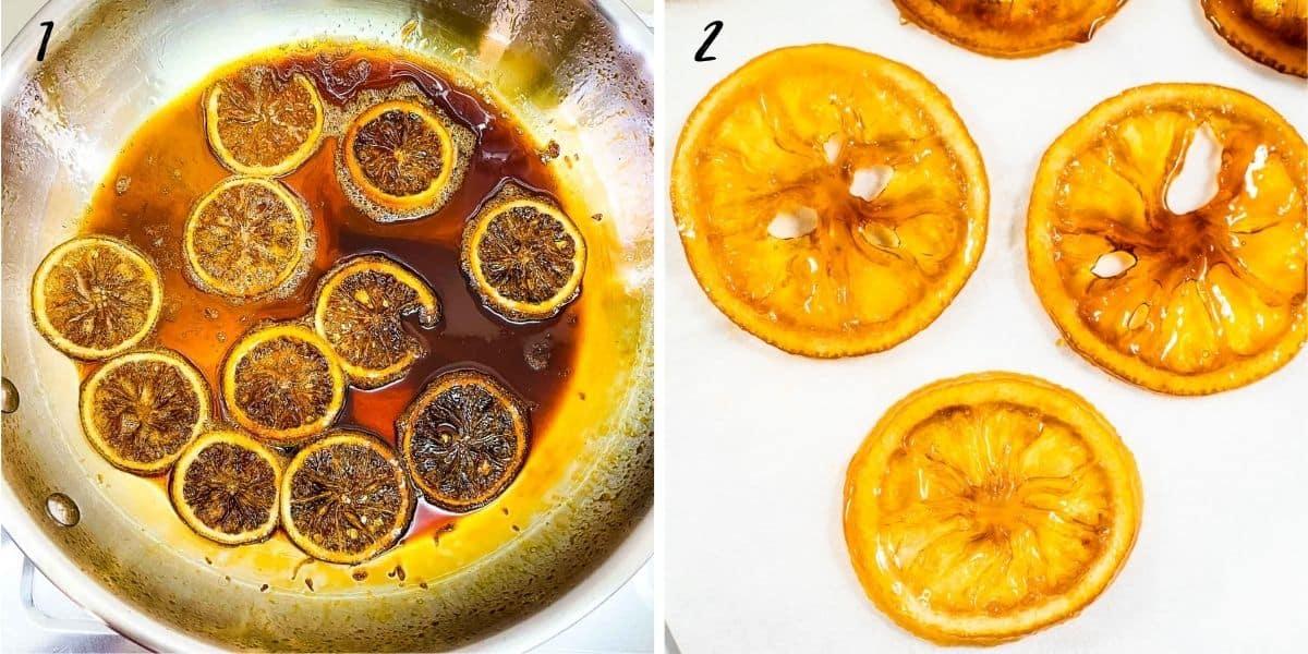 2 images showing how to make caramelized lemon slices