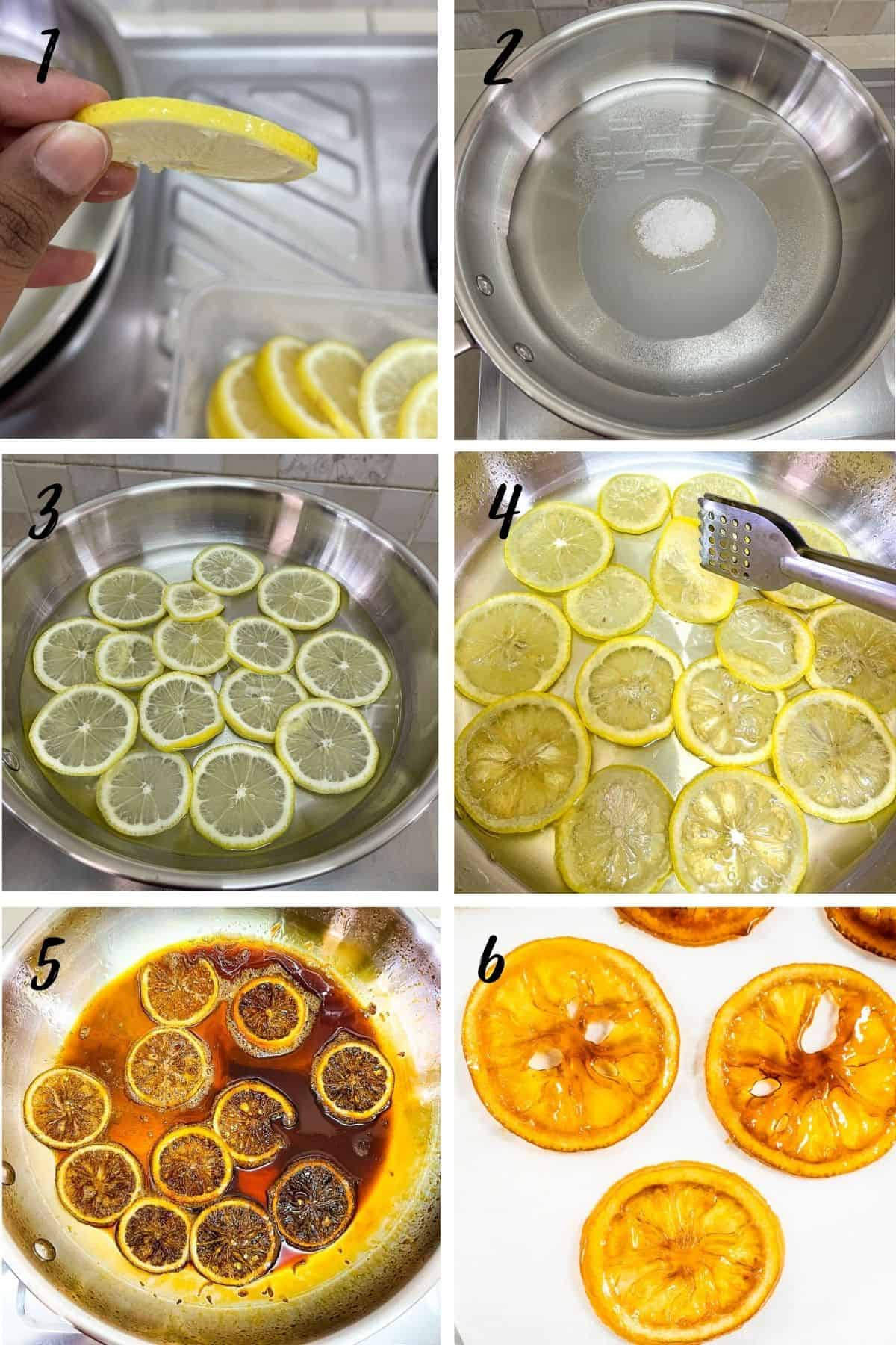A poster of 6 images showing how to make caramelized lemon slices