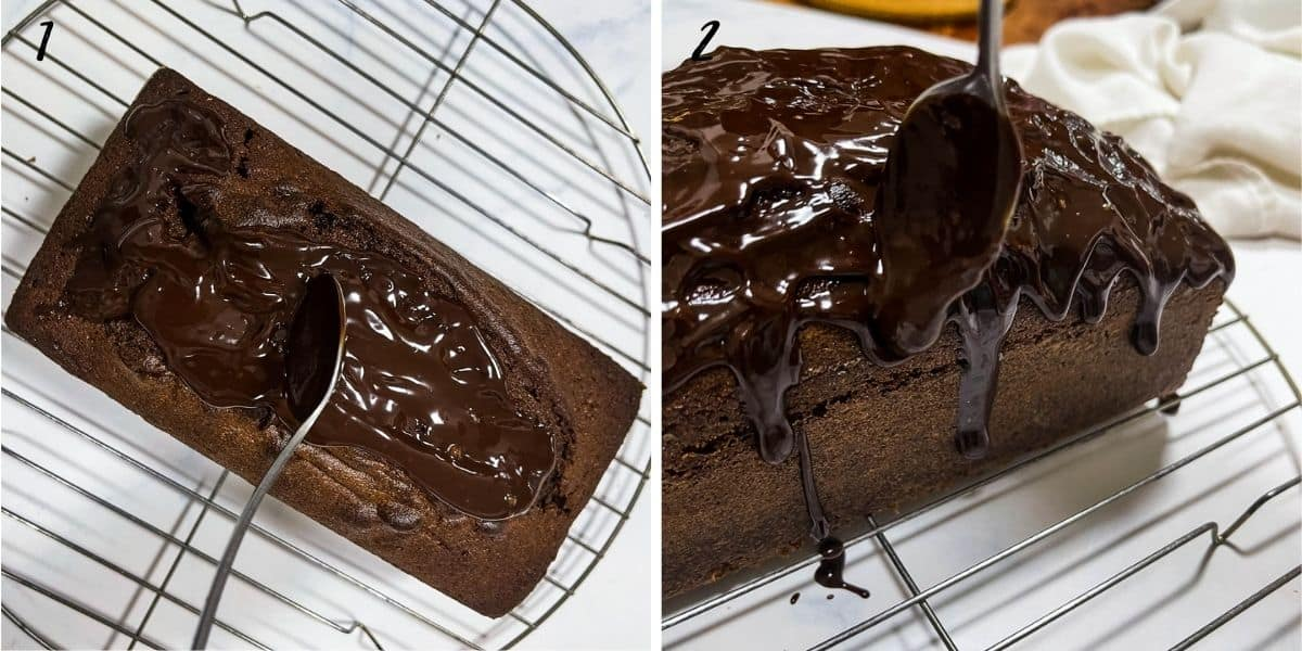 A poster of 2 images showing how to drip chocolate ganache on the sides of a cake
