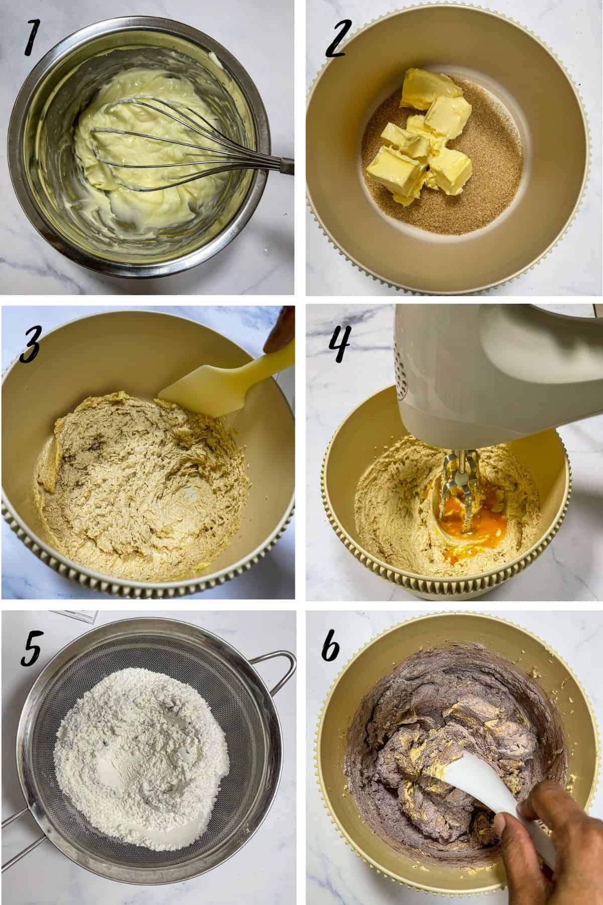 A poster of 6 images showing how to mix chocolate cake batter