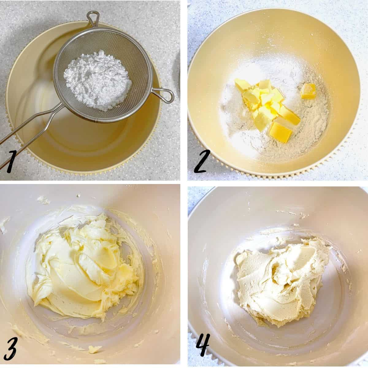A poster of 4 images showing how to mix the 3 ingredient cookies dough