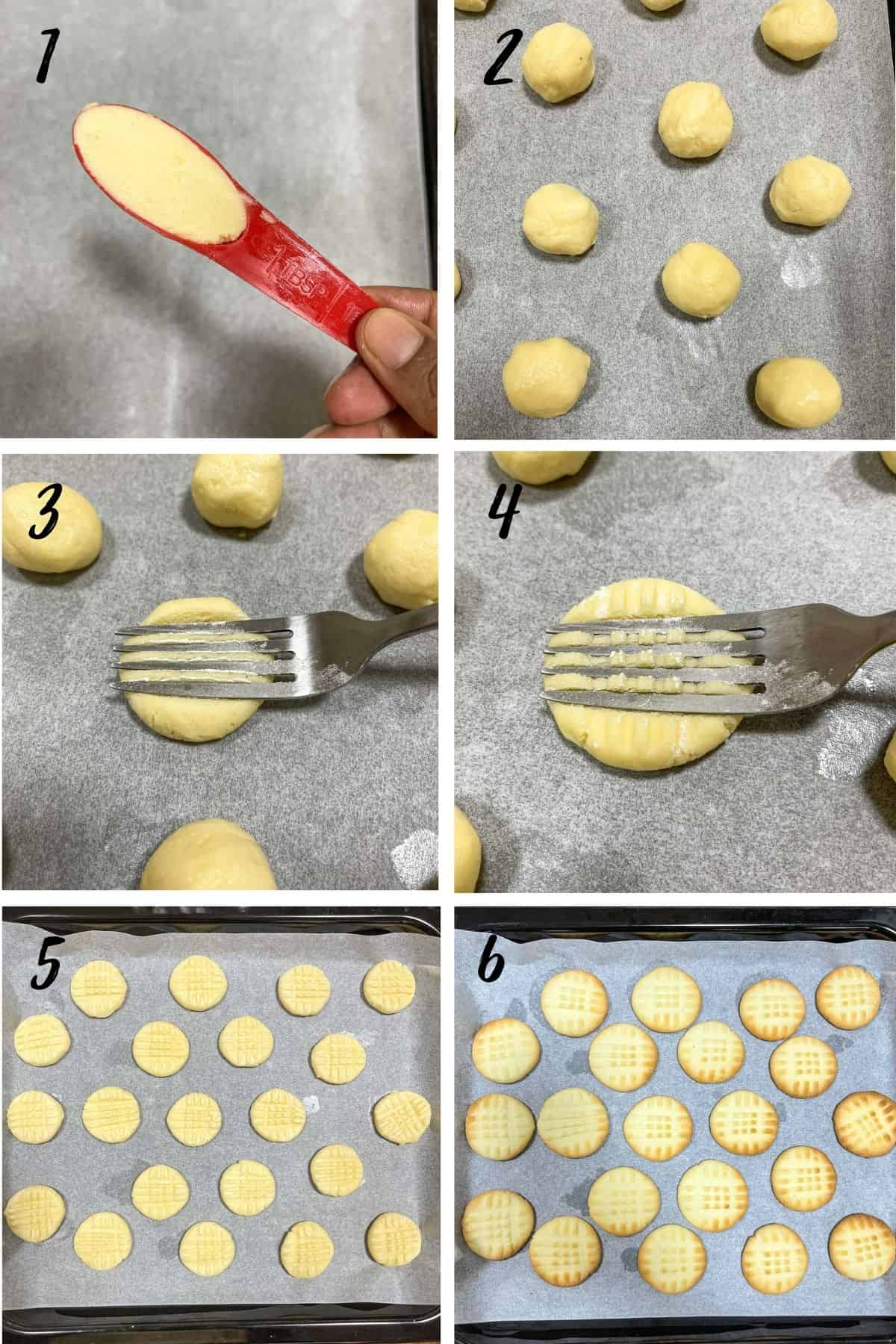 A poster of 6 images showing how to shape 3 ingredient cookies with a fork