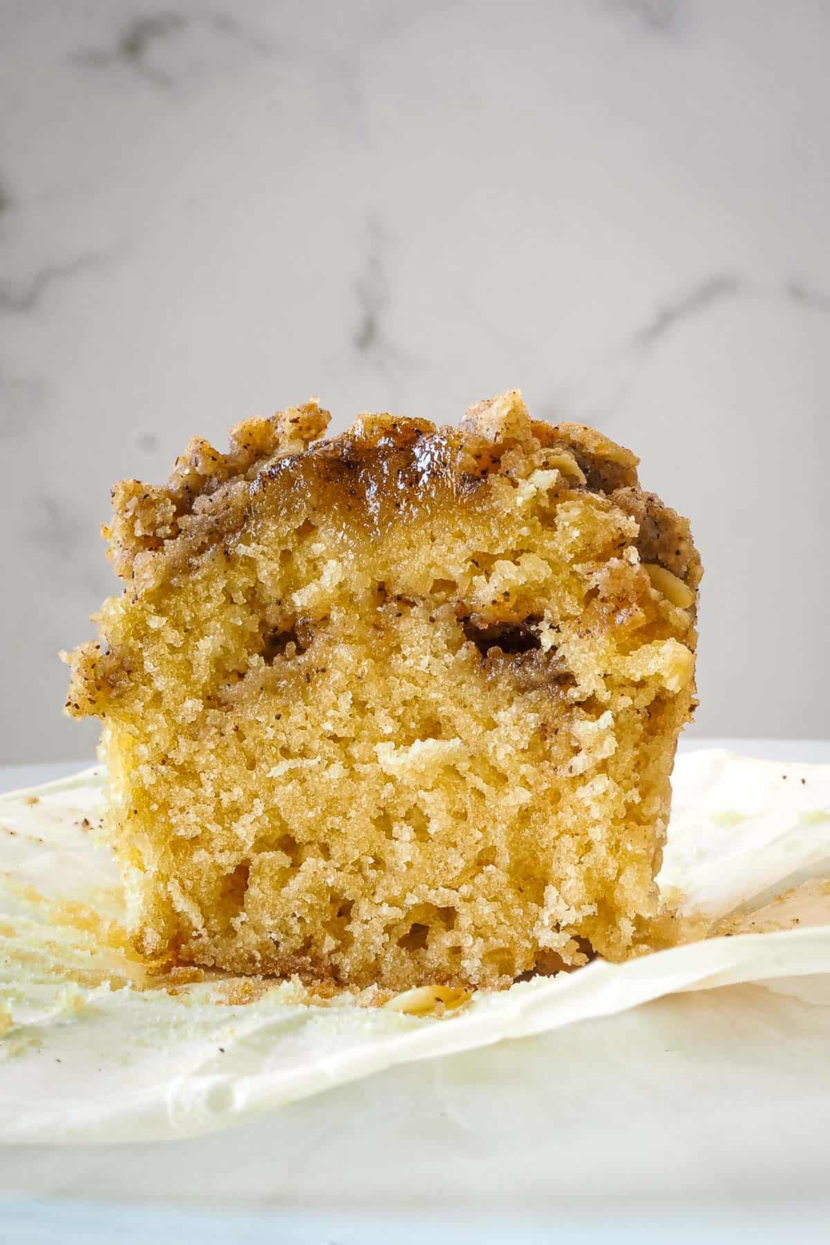 A muffin cut into half