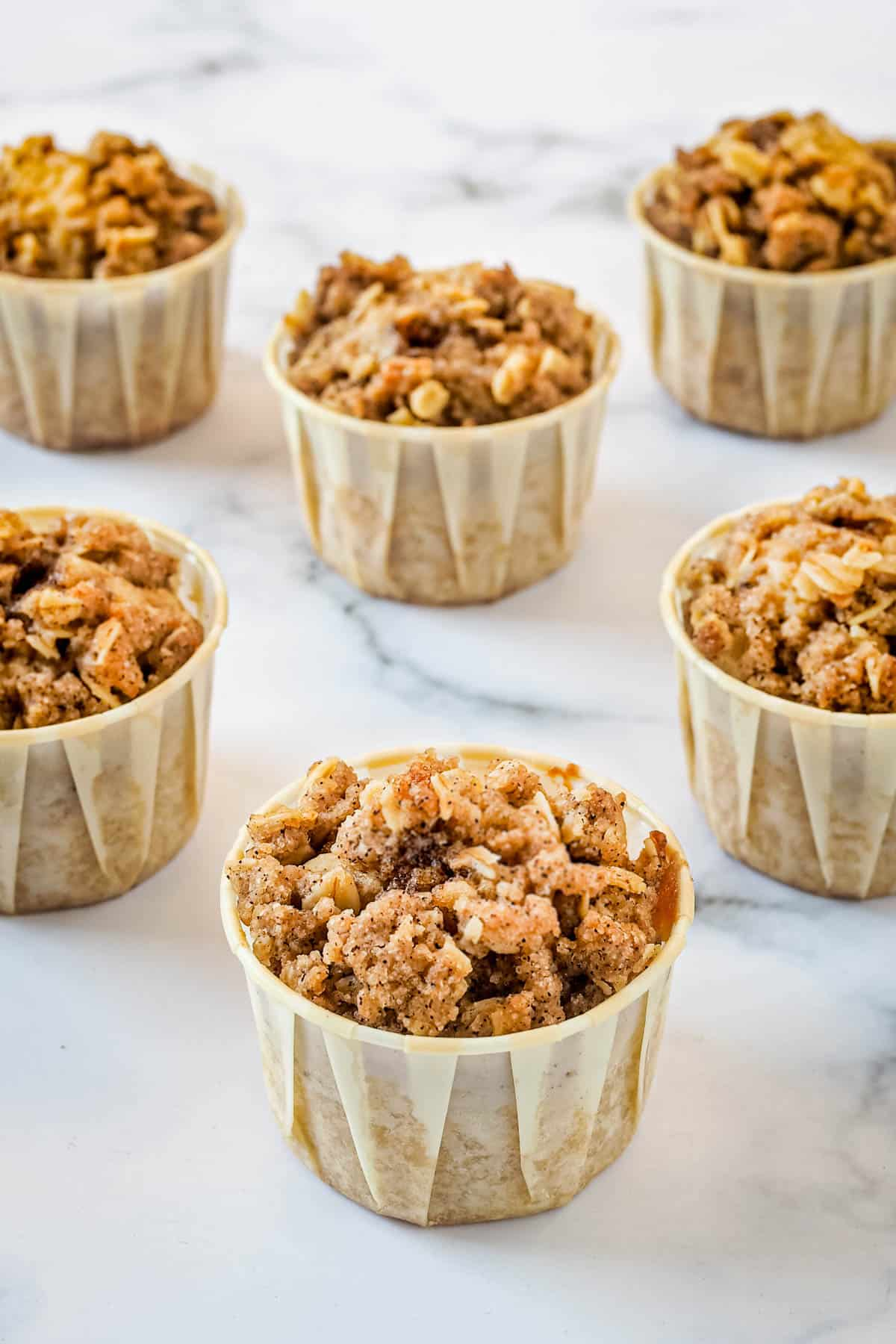 Streusel muffins against marble background