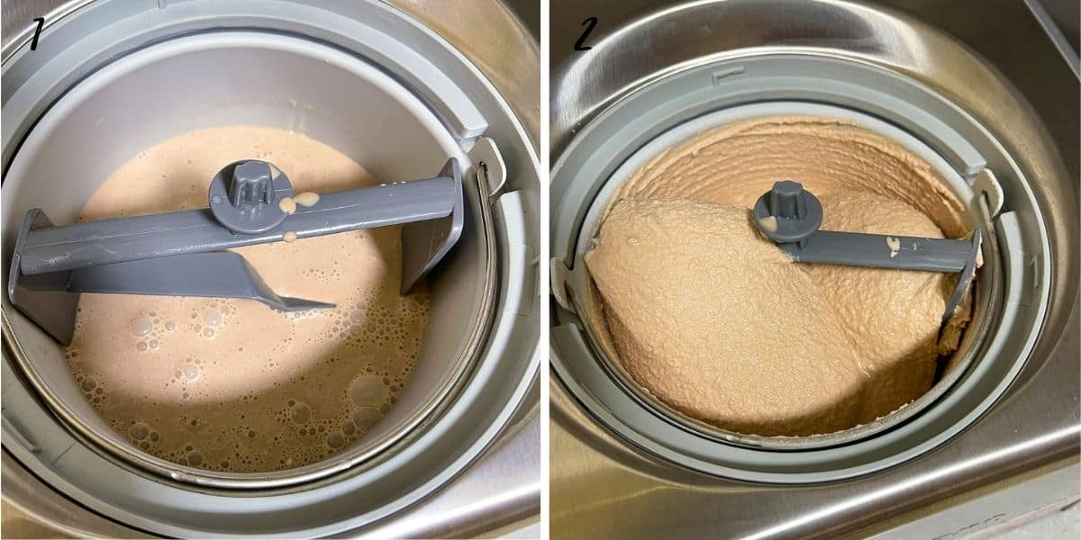 A poster of 2 images showing before churned chocolate ice cream and after churned ice cream