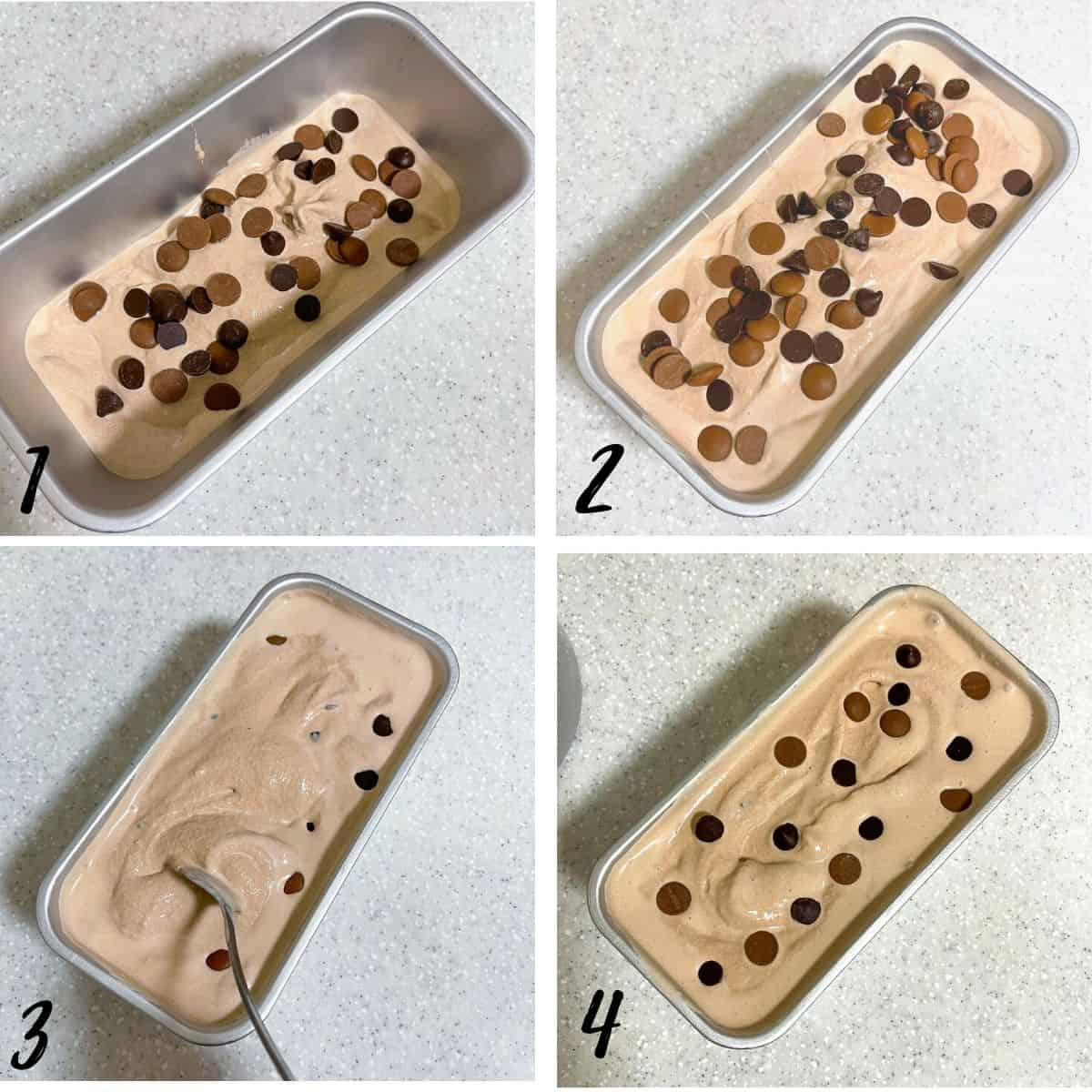 A poster of 4 images showing how to assemble chocolate chip ice cream