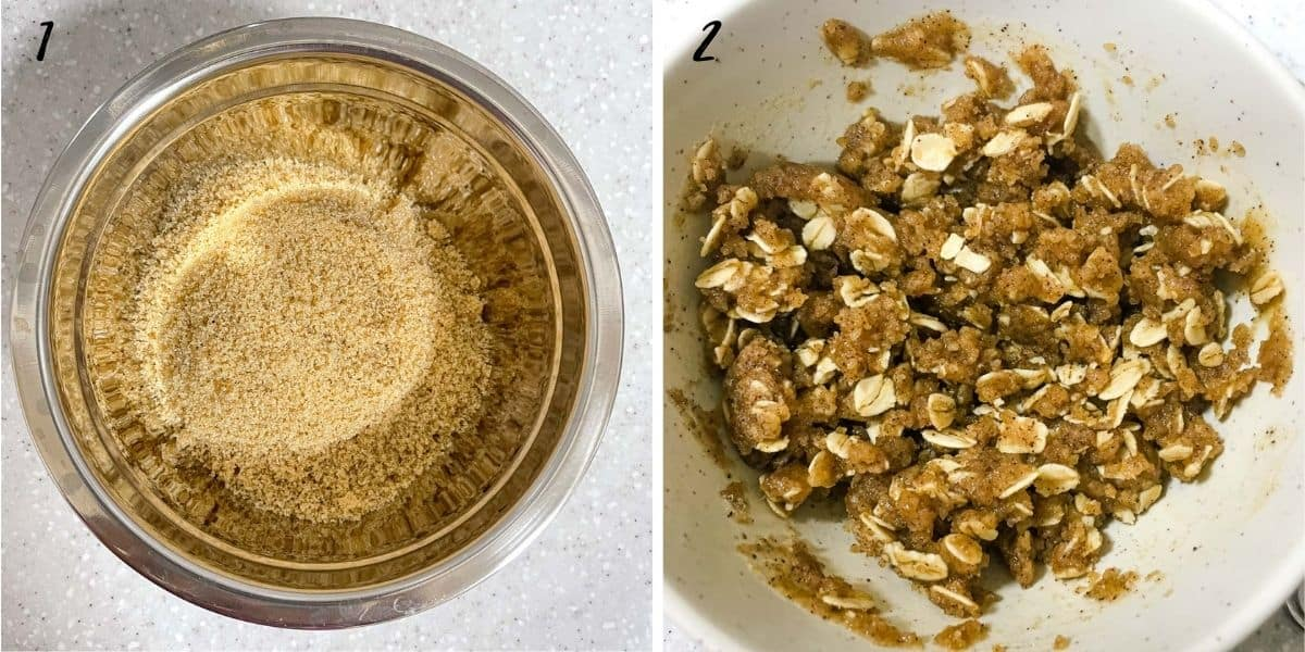 A poster of 2 images showing how to make streusel topping