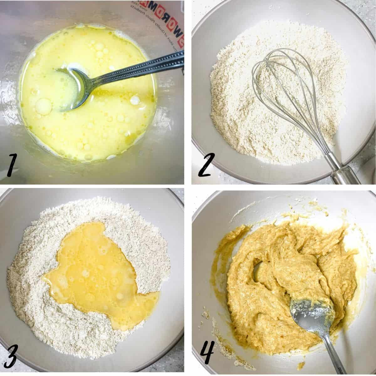 A poster of 4 images showing how to make cinnamon streusel muffins